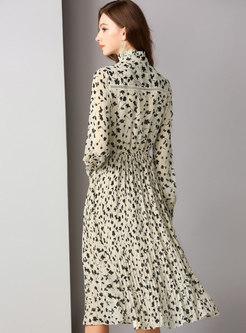 Elegant Floral Stand Collar Slim Pleated Dress