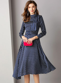 Polka Dot Stand Collar Belted Hem Skater Dress