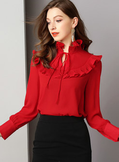 Solid Color Ruffled Collar Pullover Blouse