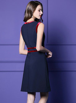 Elegant Color-blocked O-neck Sleeveless Skater Dress