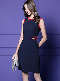 Elegant Color-blocked O-neck Sleeveless Skater Dress