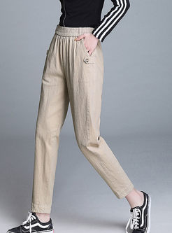 Elastic Waist Solid Color Slim Harem Pants