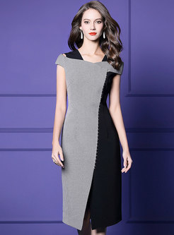 Plaid Splicing Off Shoulder Slit Sheath Dress