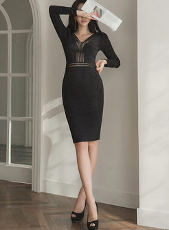 V-neck Mesh Hollow Out Sheath Bodycon Dress