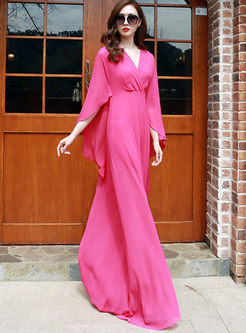 Solid Color V-neck Floor-length Maxi Dress