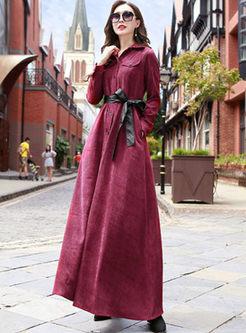 Lapel Single-breasted Waist Maxi Dress