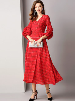 Plaid V-neck Puff Sleeve Belted Skater Dress
