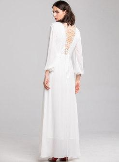 Chic V-neck Drilling High Waist Slim Maxi Dress