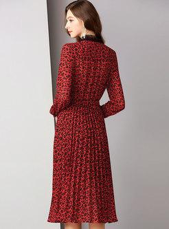 Leopard Lace Lapel Tie-waist Pleated Dress