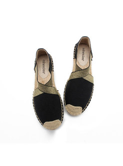 Casual Color-blocked Elastic Hollow Out Loafers