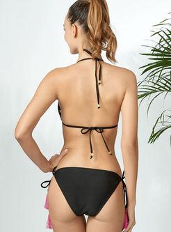 Sexy Halter Print Tied Bikini