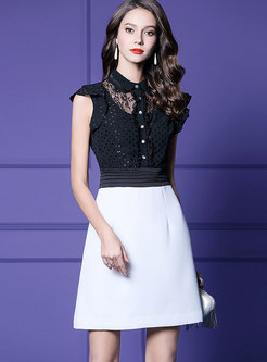 Elegant Color-blocked Lapel High Waist Skater Dress