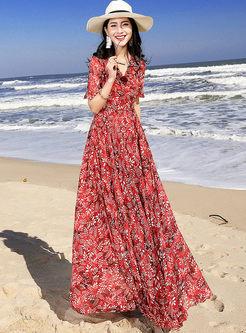 Fashion Short Sleeve Print Big Hem Dress