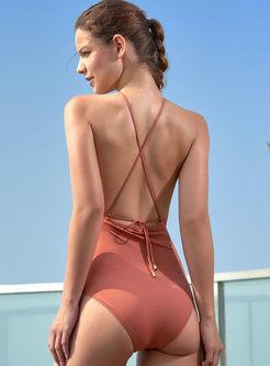 Sexy Halter Backless Tied One Piece Swimwear