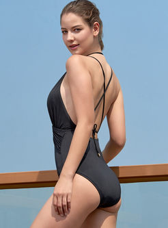 Sexy Halter Backless Tied One Piece Swimwear