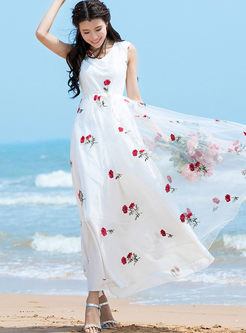 Sweet Embroidered Big Hem Mesh Dress