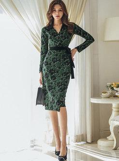 Sexy V-neck Long Sleeve Print Bodycon Dress