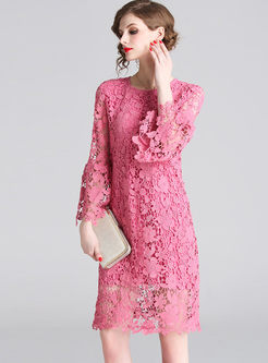 Sweet Solid Color Loose Lace Shift Dress
