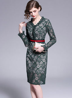 Fashion V-neck Long Sleeve Lace Bodycon Dress