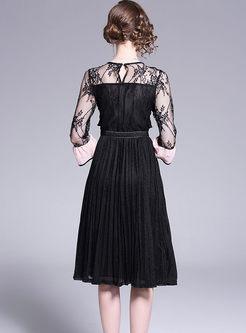 O-neck Lace Splicing Falbala Skater Dress