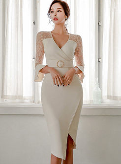 Sexy V-neck Slim Asymmetric Bodycon Dress