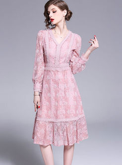 Sweet V-neck Long Sleeve Lace A Line Dress