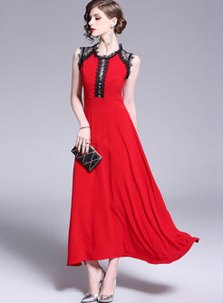 Elegant Sleeveless Lace Splicing Cocktail Dress
