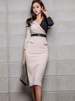 Color-blocked V-neck Slim Belted Slit Dress