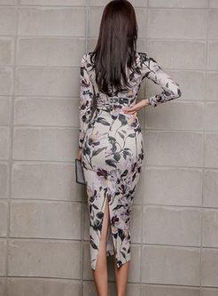 Retro V-neck Long Sleeve Print Slit Dress