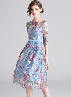 Elegant Embroidery A-line Dress