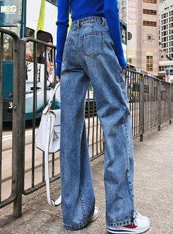 Vintage Denim High Waist Wide Leg Pants