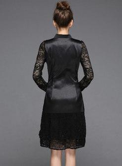 Elegant Slim Blouse & Splicing V-neck Falbala Dress