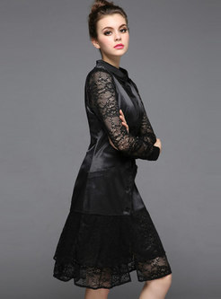 Elegant Slim Blouse & Splicing V-neck Falbala Dress