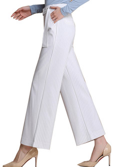 Stylish Striped High Waist Wide-leg Pants