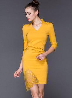 Elegant Lace Splicing Solid Color Sheath Dress