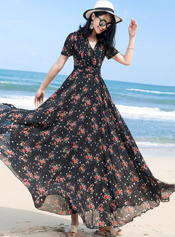 Floral V-neck High Waist Hem Maxi Dress