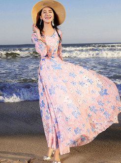 Stylish Print V-neck Gathered Waist Slim Maxi Dress