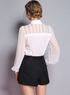 Lace Splicing Stand Color See-through Blouse