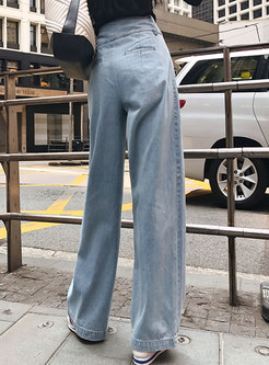 Light Blue High Waist Wide Leg Pants