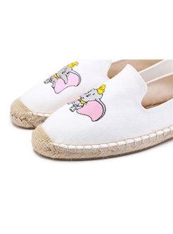 Casual Cartoon Pattern Flat Loafers