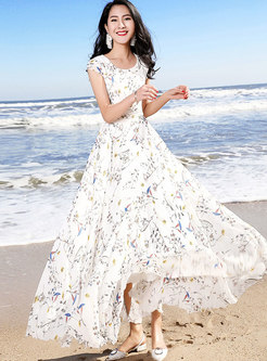Elegant Floral O-neck High Waist Maxi Dress