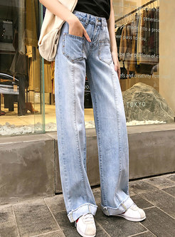 Retro Denim High Waist Pocket Wide Leg Pants