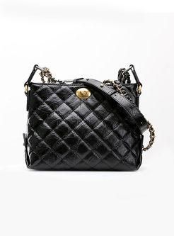 Autumn Black Clasp Lock Chain Tote & Crossbody Bag