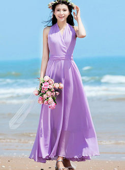 Bohemian V-neck Sleeveless Slim Maxi Dress