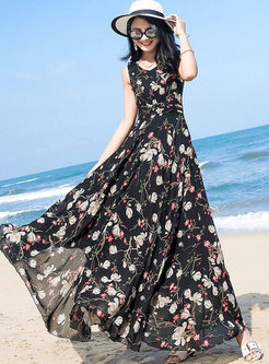 Bohemia Floral V-neck Sleeveless Hem Maxi Dress