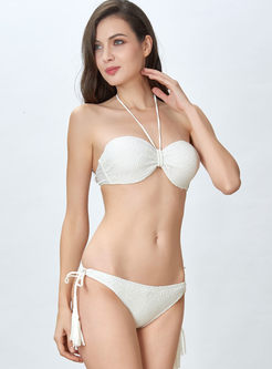 Sexy Solid Color Halter Tied Bikini