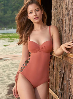 Fashion Backless Tied One Piece Swimwear