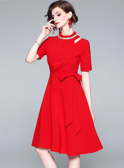 Stand Collar Drilling Bowknot Slim Skater Dress