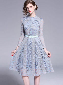 Sweet Long Sleeve Hollow Out Lace Dress