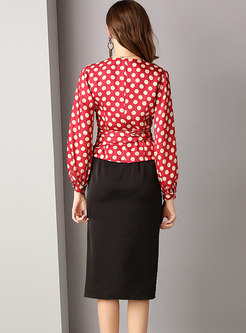Black Slit Slip Dress & Polka Dot V-neck Blouse